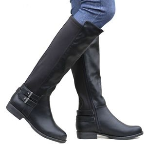 Shoes - New Black Elastic Buckle Knee High Riding Boots